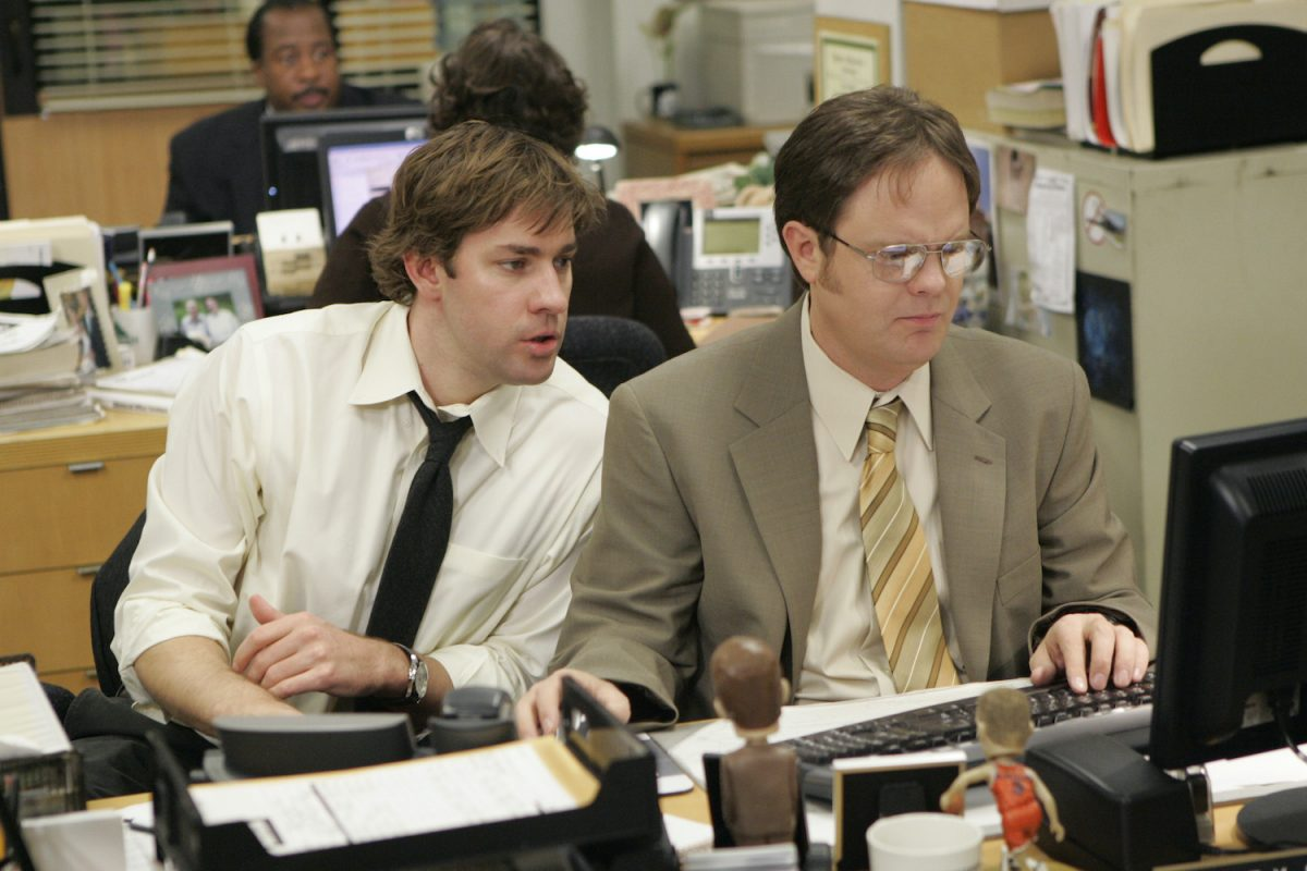 John Krasinski as Jim Halpert and Rainn WIlson as Dwight Schrute on 'The Office'