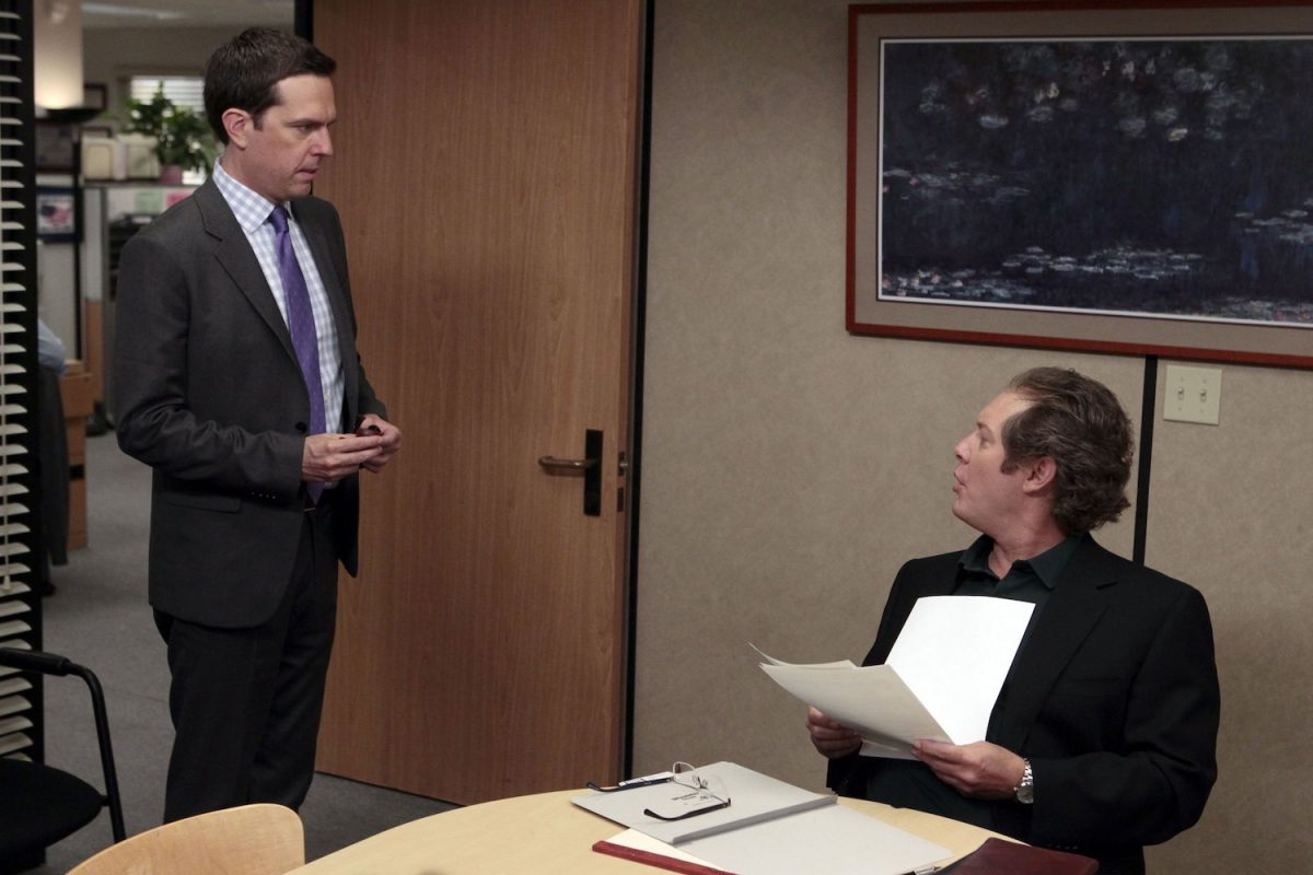 Ed Helms as Andy Bernard and James Spader as Robert California on 'The Office'