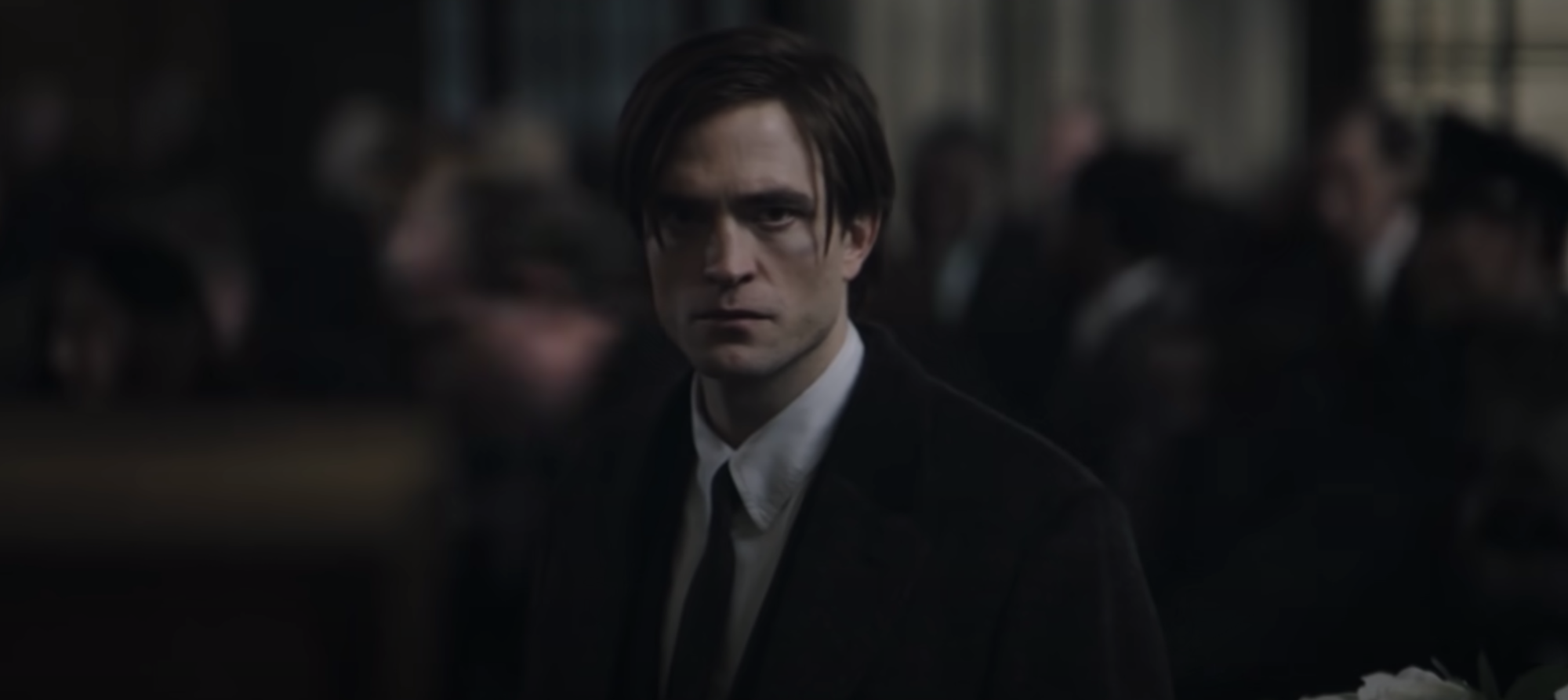 Robert Pattinson as Bruce Wayne in 'The Batman' trailer.