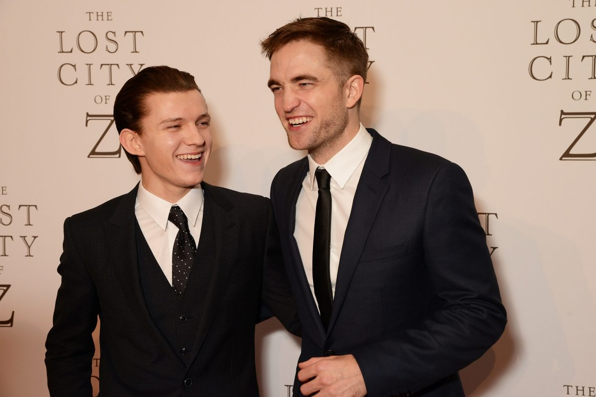 Tom Holland (L) and Robert Pattinson attend the UK premiere of 'The Lost City of Z' on February 16, 2017 in London, England.