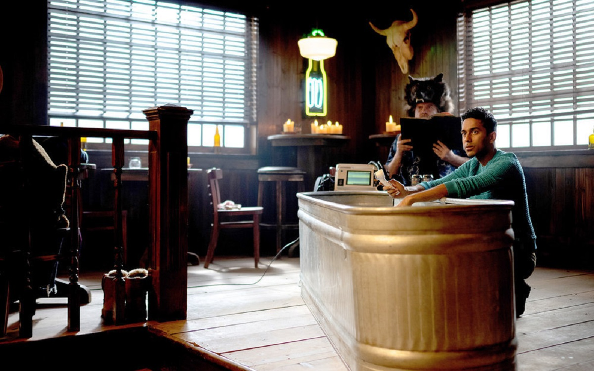 (l-r) Greg Lawson as Sheriff Randy Nedley, Varun Saranga as Jeremy Chetri in 'Wynonna Earp Episode 406 'Holy War Part II'