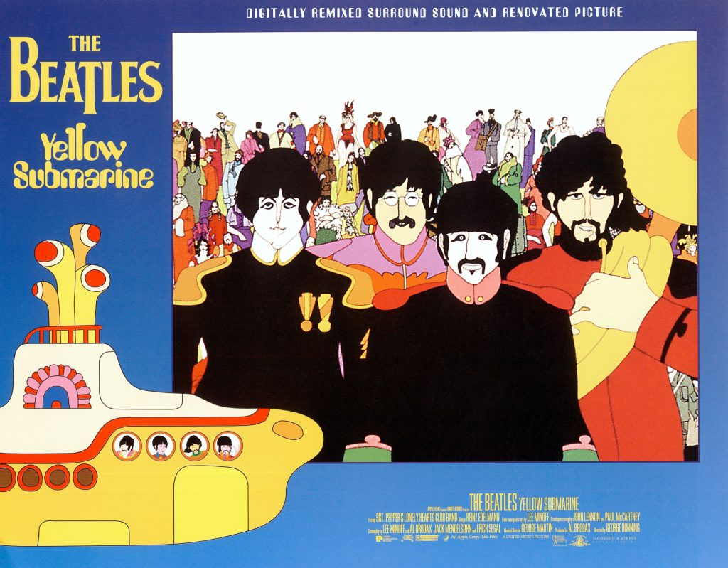 A lobbycard for Yellow Submarine depicting The Beatles