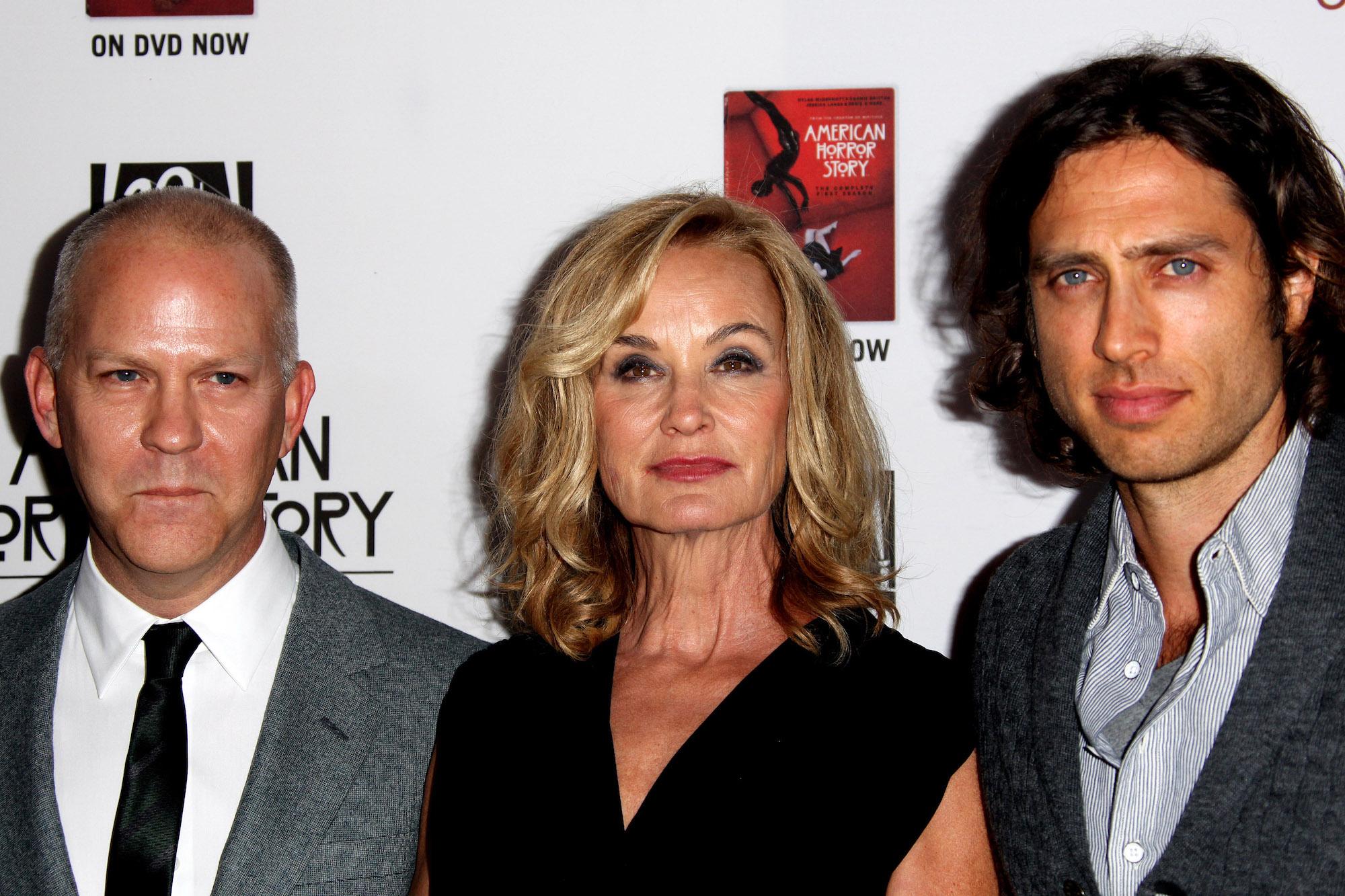 "Ryan Murphy, Jessica Lange, and Brad Falchuk at the ""American Horror Story: Asylum"" premiere on Oct. 13, 2012"