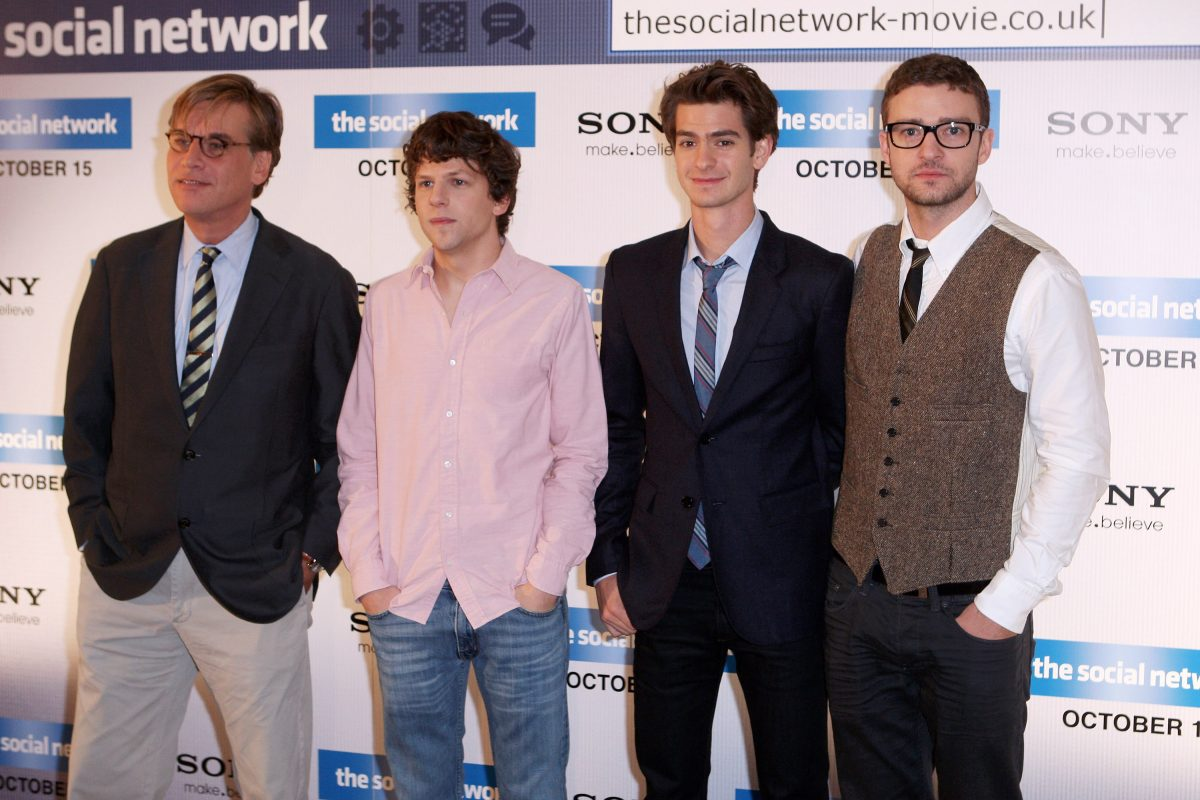 Aaron Sorkin, Jesse Eisenberg, Andrew Garfield, and Justin Timberlake at a photocall for 'The Social Network'