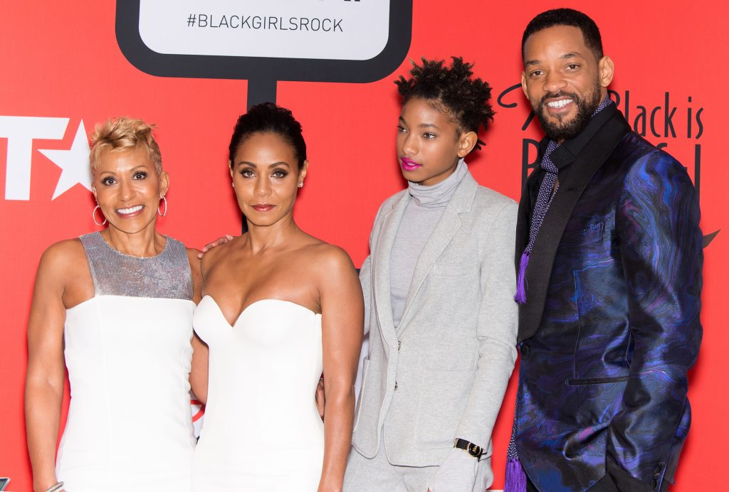(L-R) Adrienne Banfield-Jones, Jada Pinkett Smith, Willow Smith, and Will Smith attend the BET's 'Black Girls Rock!' Red Carpet