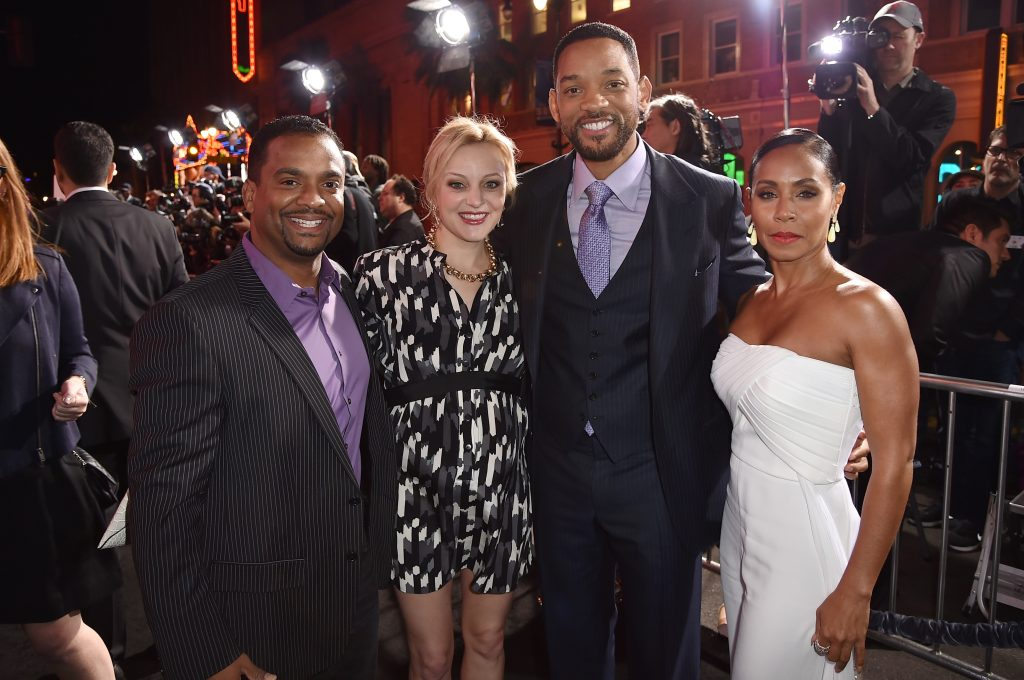Alfonso Ribeiro, Angela Unkrich, Will Smith, and Jada Pinkett Smith