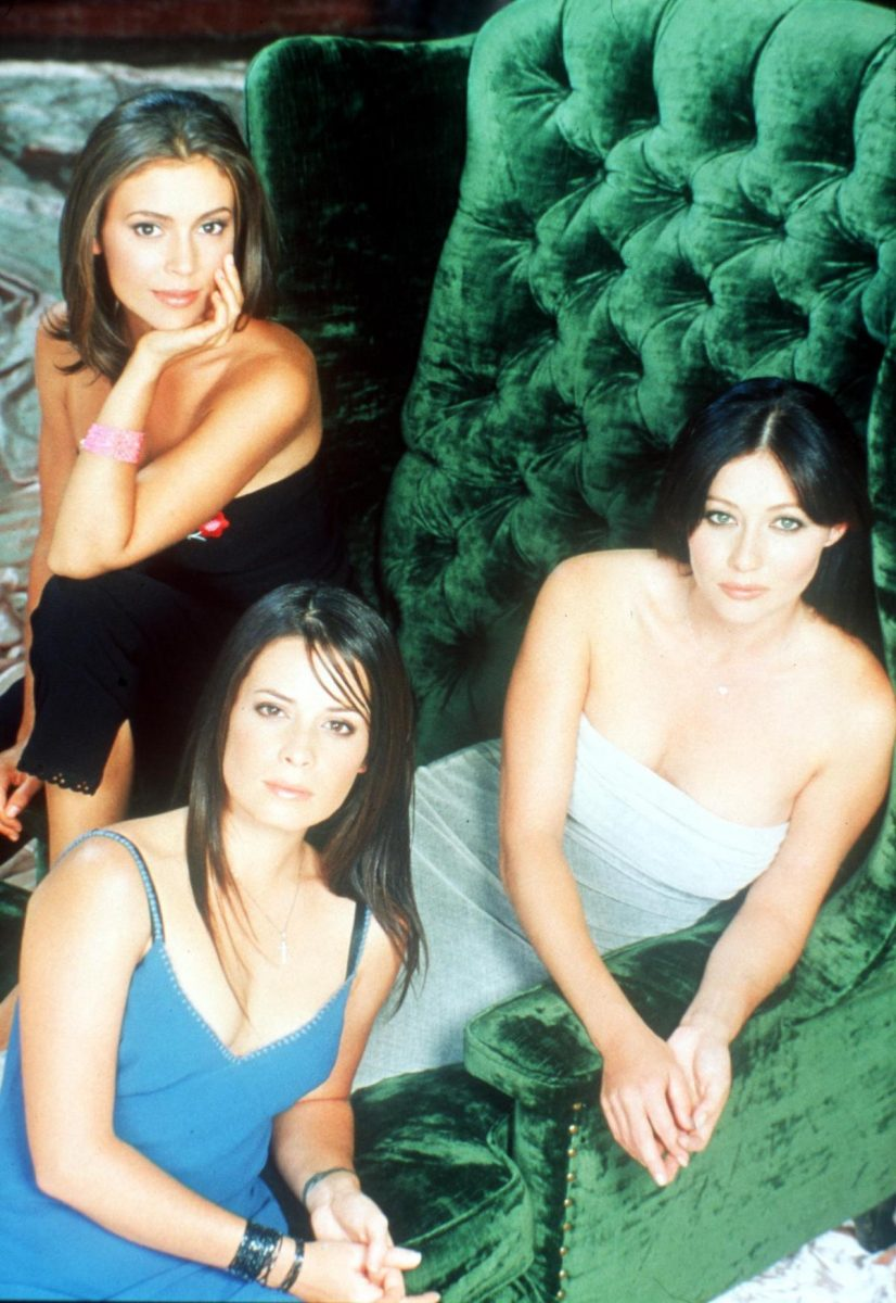 Alyssa Milano, Shannen Doherty, and Holly Marie Combs as Phoebe, Prue, and Piper Halliwell