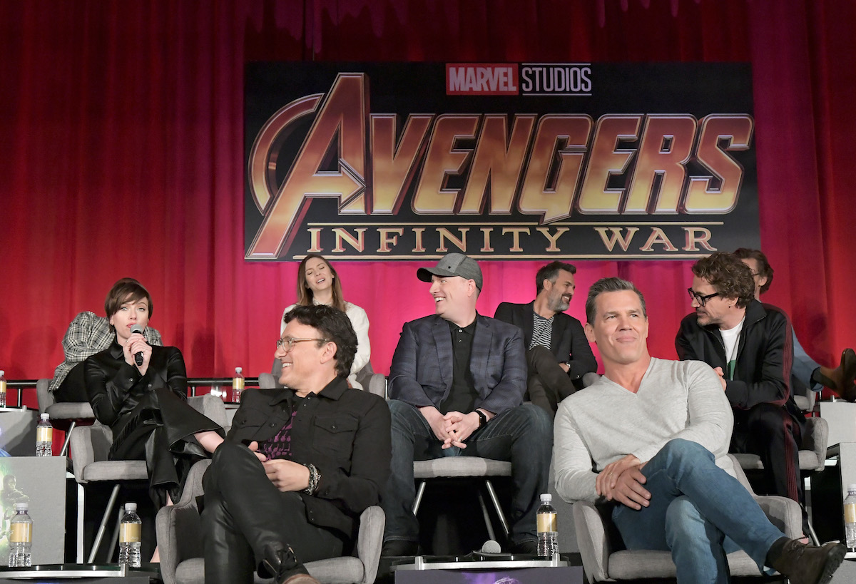 Kevin Feige, Anthony Russo, and some of the 'Avengers: Infinity War' cast