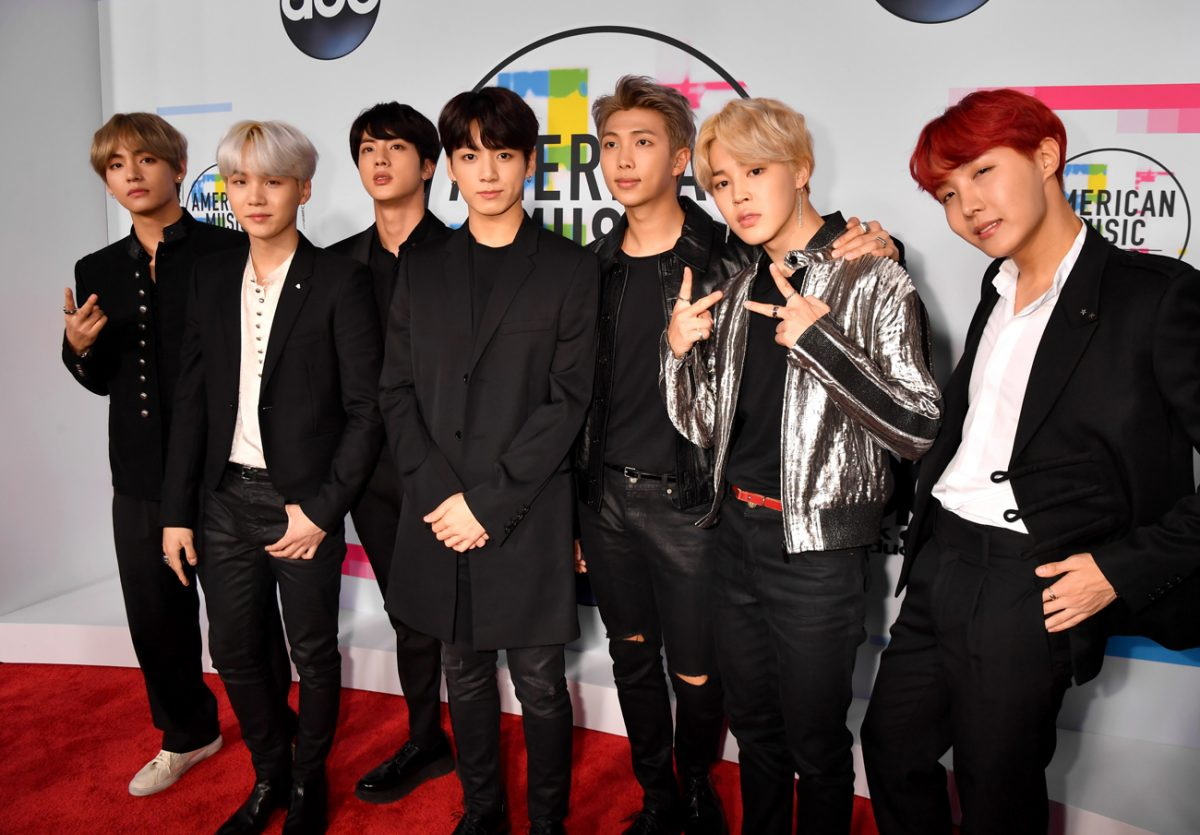 BTS standing on the red carpet