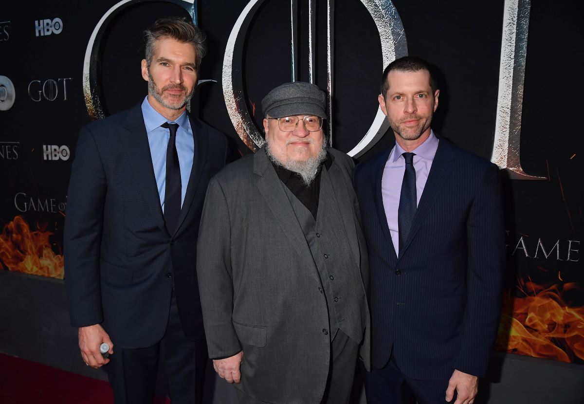 """Executive Creators and Producers of """"Game of Thrones"""", David Benioff, George R. R. Martin and D.B Weiss attend the """"Game Of Thrones"""" Season 8 NY Premiere on April 3, 2019 in New York City"""