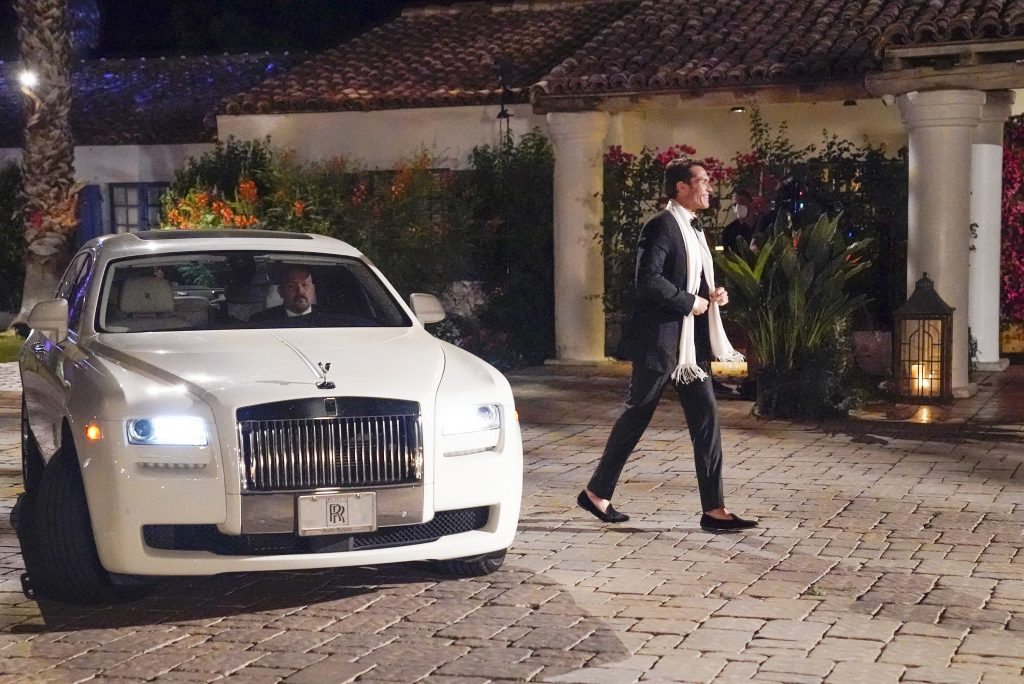 'The Bachelorette' contestant Bennett Jordan getting out of his Rolls Royce