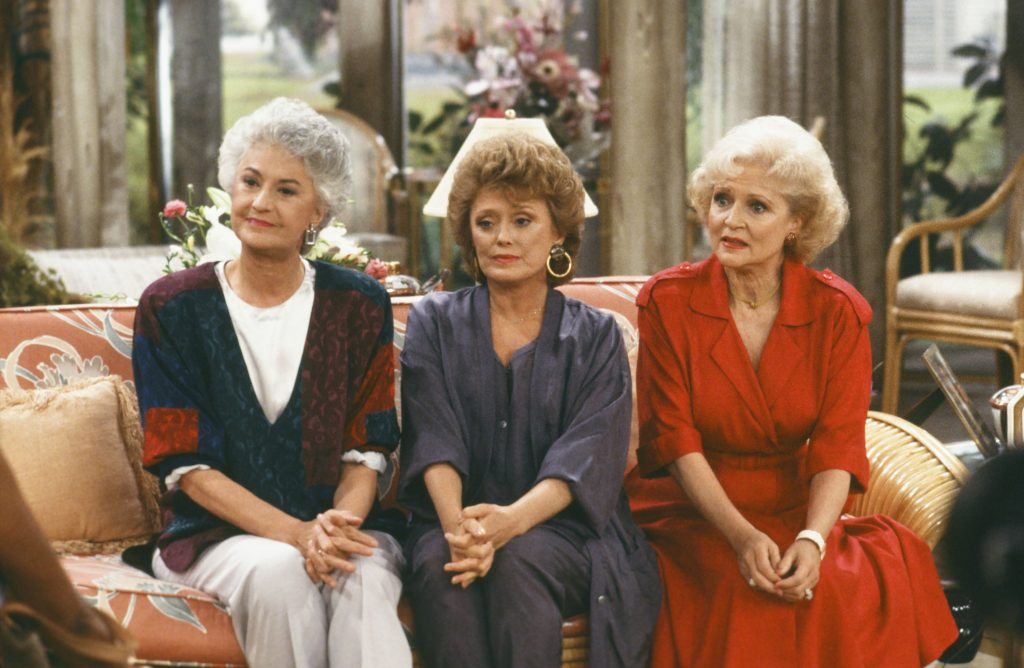 Bea Arthur as Dorothy, Rue McClanahan as Blanche, and Betty White as Rose Nylund