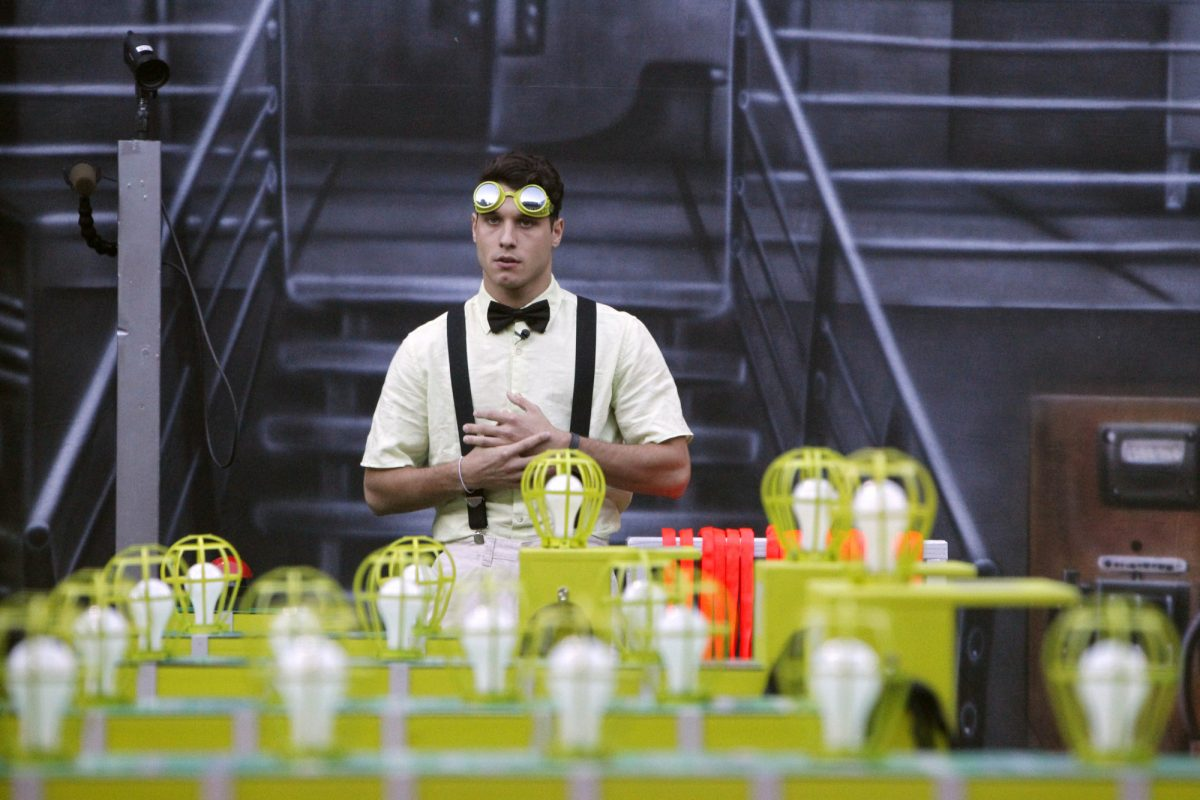 Big Brother 16 houseguest Cody Calafiore competes in the Zingervention Power of Veto competition
