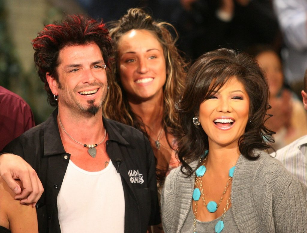 """Winner of """"Big Brother 8"""" Dick Donato is congratulated by host Julie Chen Moonves"""