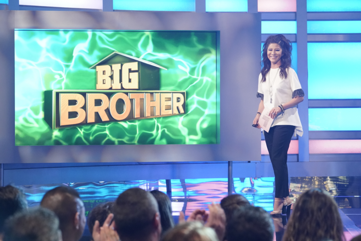 Host Julie Chen Moonves on the Live Eviction show #8 on Big Brother