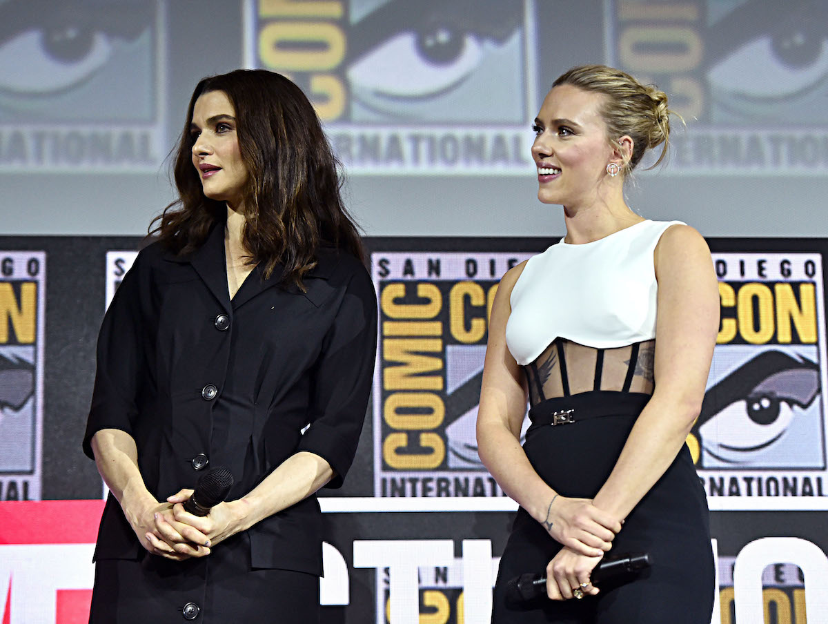 Rachel Weisz and Scarlett Johansson at San Diego Comic-Con | Alberto E. Rodriguez/Getty Images for Disney