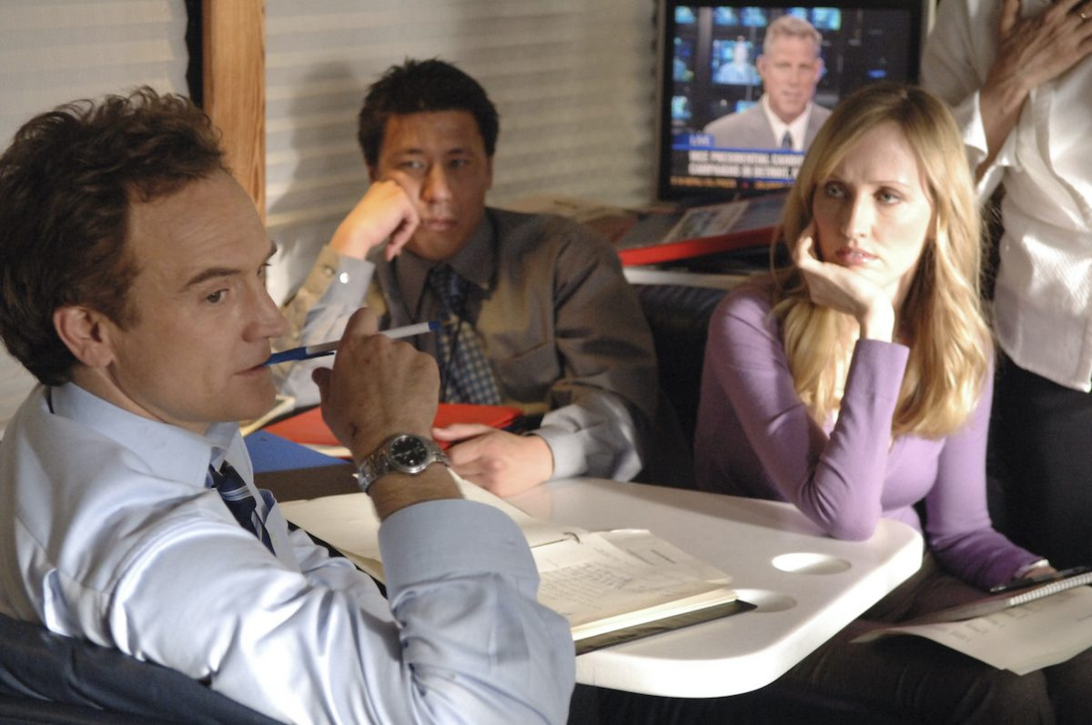 Bradley Whitford as Josh Lyman and Janel Moloney as Donna Moss on 'The West Wing'