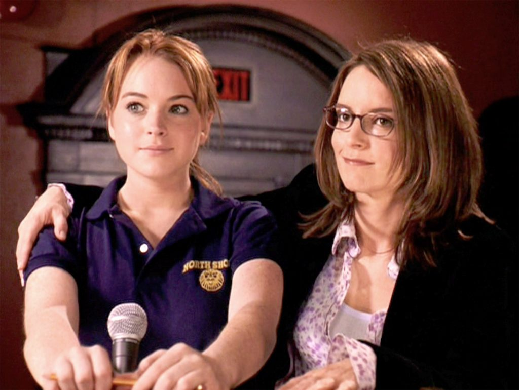 Lindsay Lohan as Cady Heron and Tina Fey as Ms. Norbury.in 'Mean Girls'