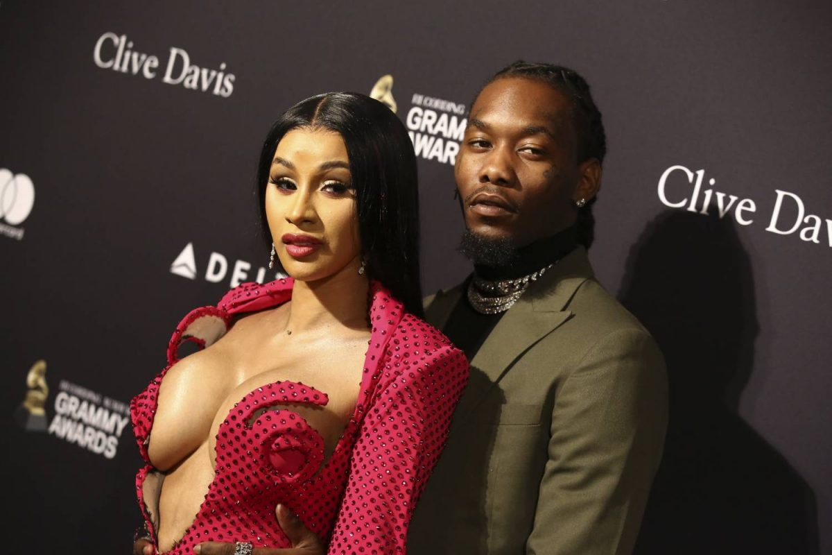 "Cardi B (L) and Offset attend the Pre-GRAMMY Gala and GRAMMY Salute to Industry Icons Honoring Sean ""Diddy"" Combs at The Beverly Hilton Hotel on January 25, 2020 in Beverly Hills, California."