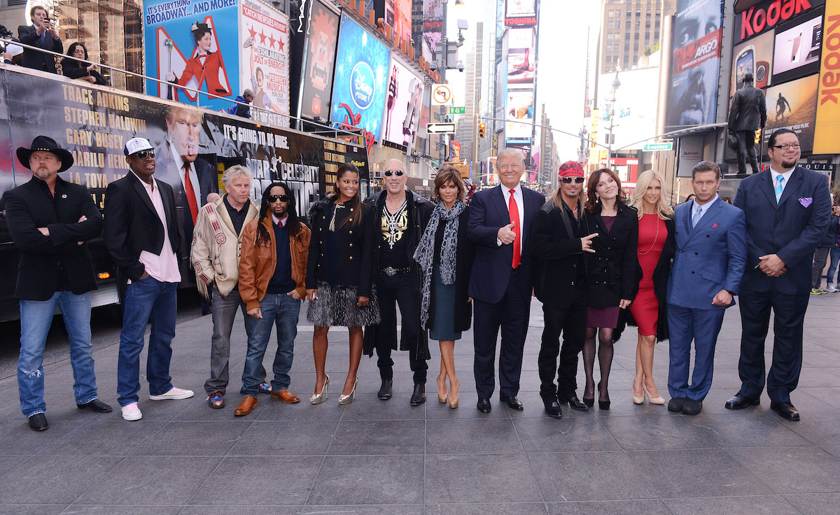 "Dennis Rodman, Trace Adkins, Stephen Baldwin, Brande Roderick, Lil Jon, Dee Snider, Lisa Rinna, Donald Trump, Gary Busey, Marilu Henner, Penn Jillette, Claudia Jordan, and Brett Michaels attend the ""Celebrity Apprentice All-Stars"""