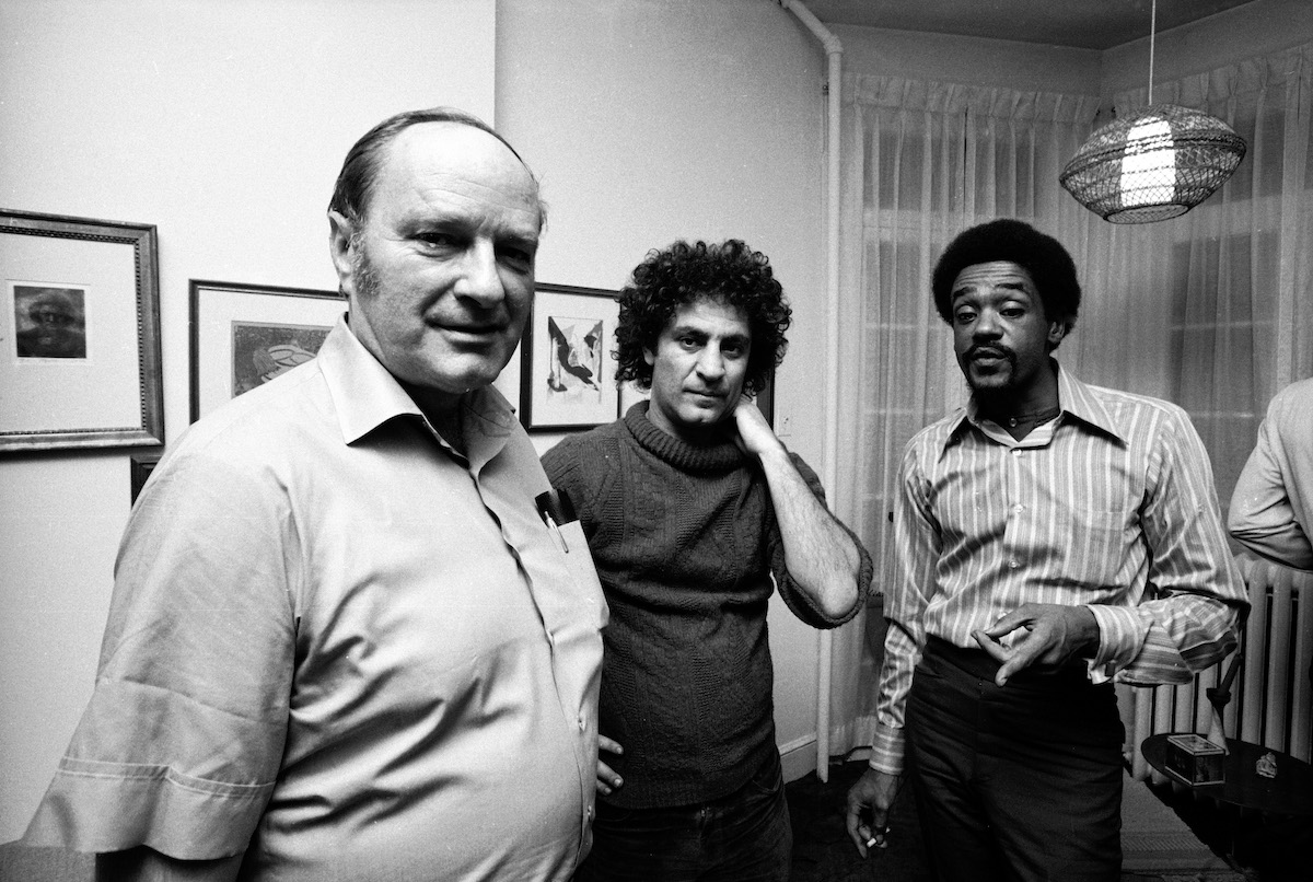 David Dellinger& Abbie Hoffman with fellow defendant Bobby Seale whose trial was severed from the other 7 defendants