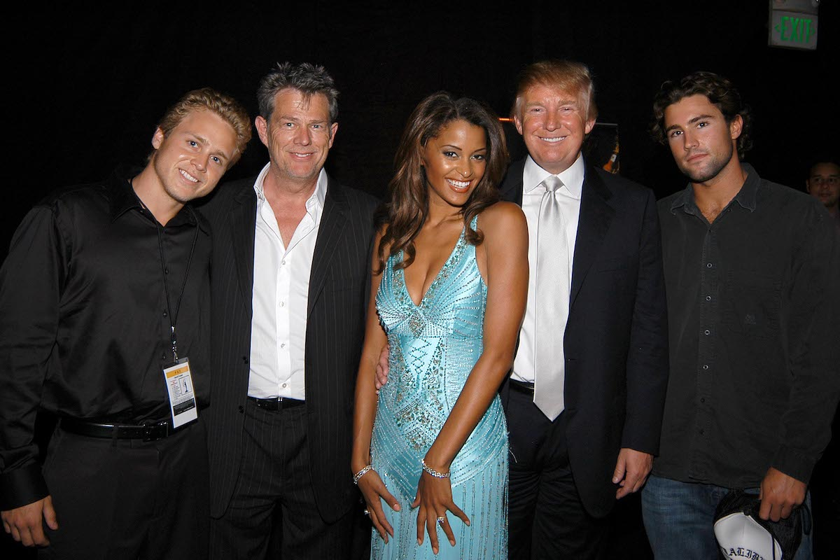 Spencer Pratt, Claudia Jordan, Donald Trump, and Brody Jenning attend 55th Annual Mrs. Universe Competition