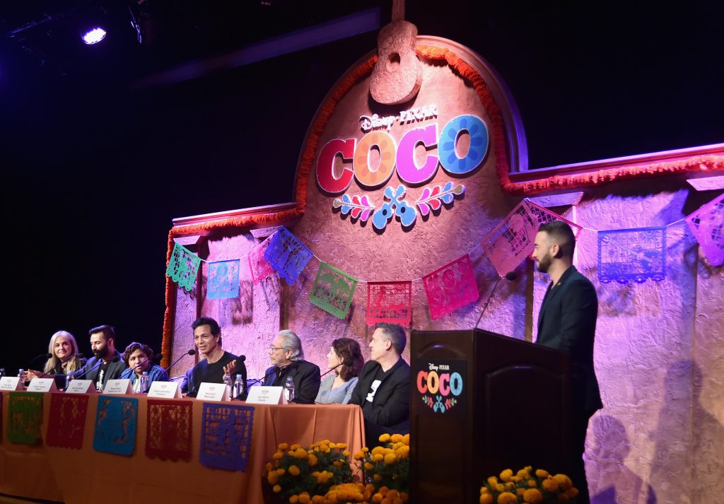 Producer Darla K. Anderson, Co-Director/screenwriter Adrian Molina, actors Anthony Gonzalez, Benjamin Bratt, Edward James Olmos, Alanna Ubach, Director Lee Unkrich and moderator Francisco Caceres at the Global Press Conference for Disney-Pixar's 'Coco'