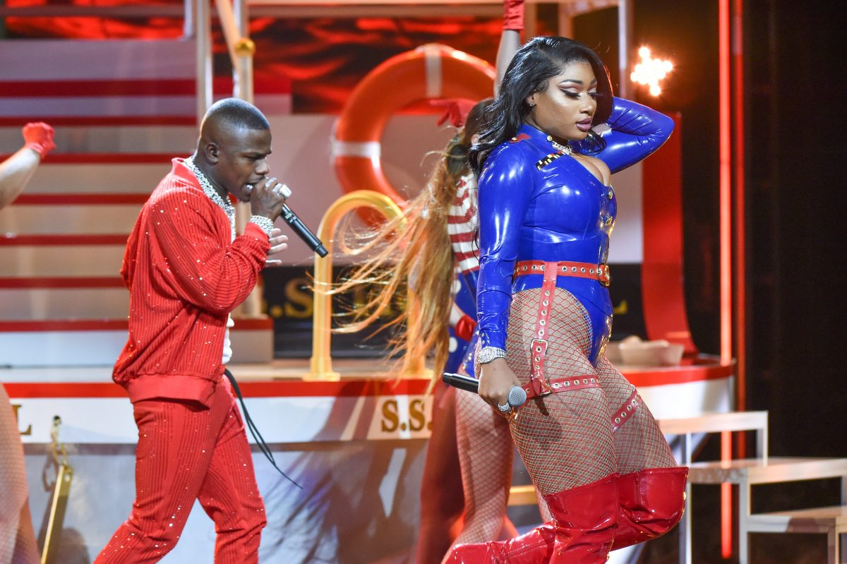 Rappers Megan Thee Stallion and DaBaby perform onstage at the 2019 BET Hip Hop Awards at Cobb Energy Performing Arts Centre on October 05, 2019 in Atlanta, Georgia.