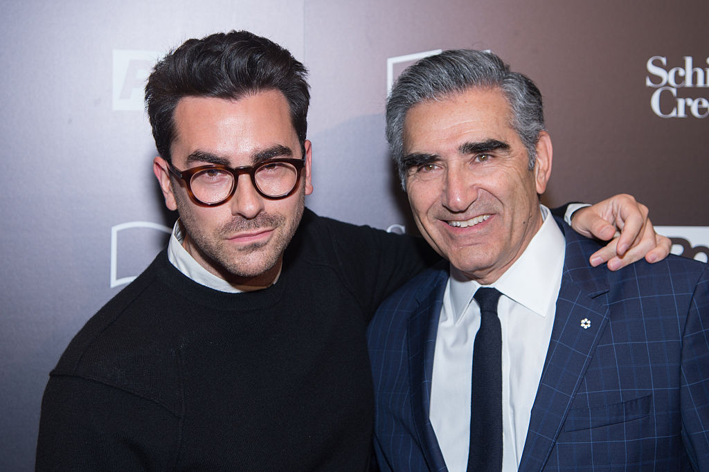 "Actor Daniel Levy (L) and Eugene Levy attend the 11th Annual New York Television Festival -""Schitt's Creek"" Screening at SVA Theater on October 22, 2015 in New York City."