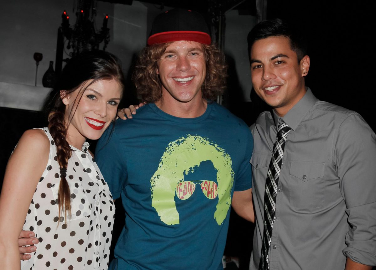 Television personalities Daniele Donato, Frank Eudy and Dominic Briones attend the 'Big Brother' wrap party