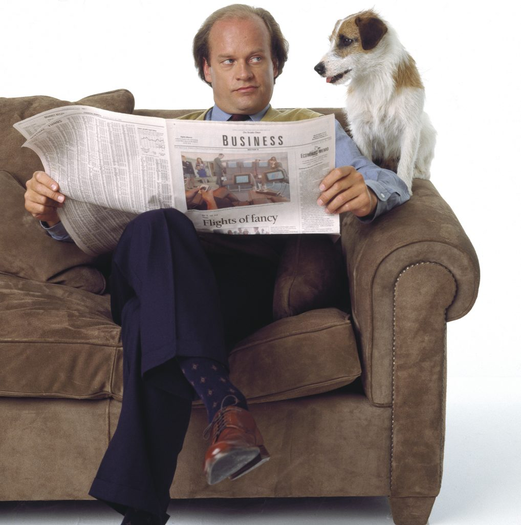 Kelsey Grammer as Dr. Frasier Crane and Moose as Eddie