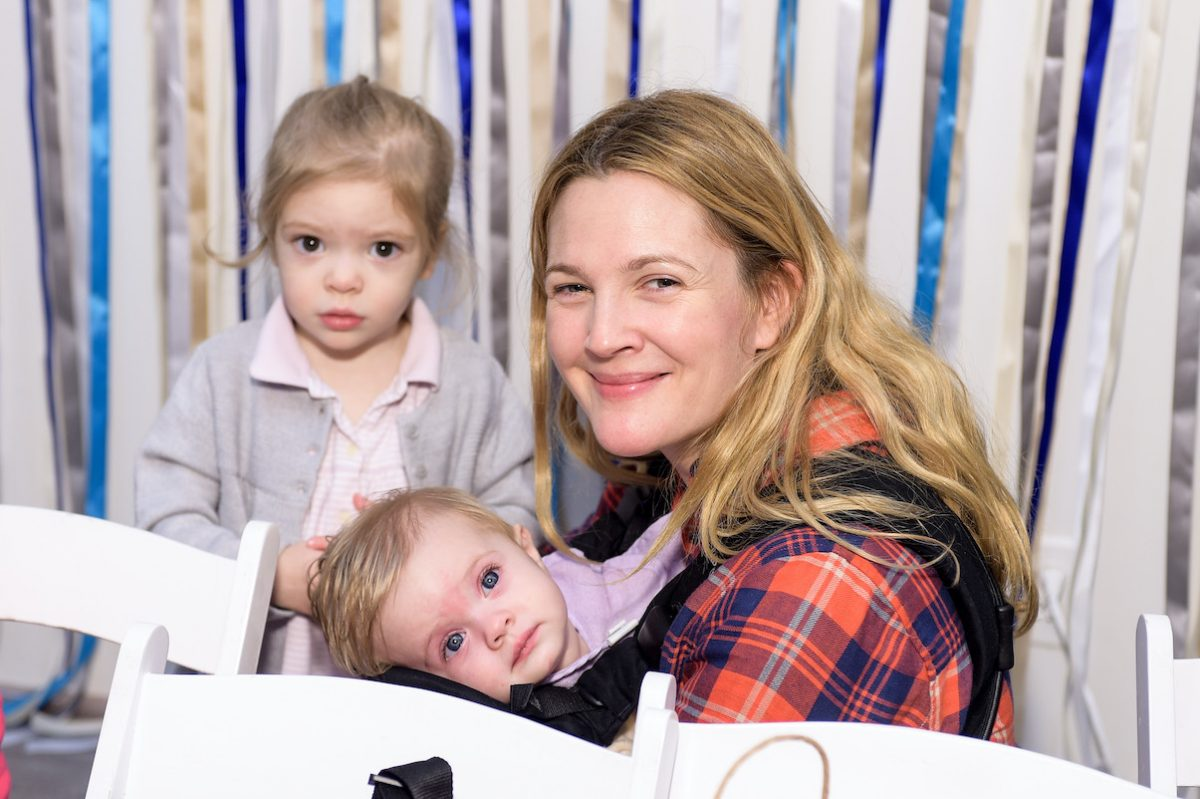 Drew Barrymore with her daughters at a Baby2Baby party in 2014