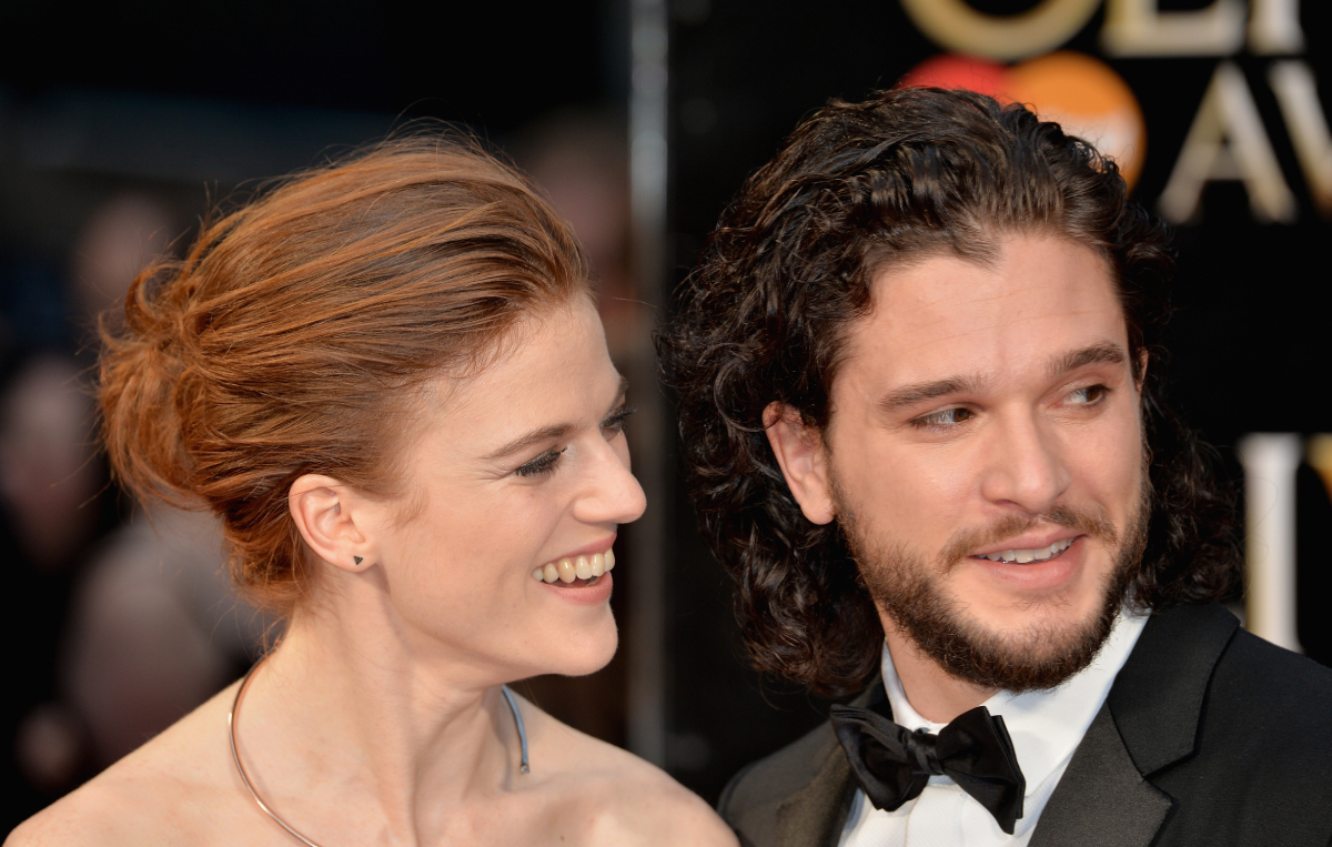 Rose Leslie and Kit Harington attend The Olivier Awards with Mastercard at The Royal Opera House on April 3, 2016 in London, England