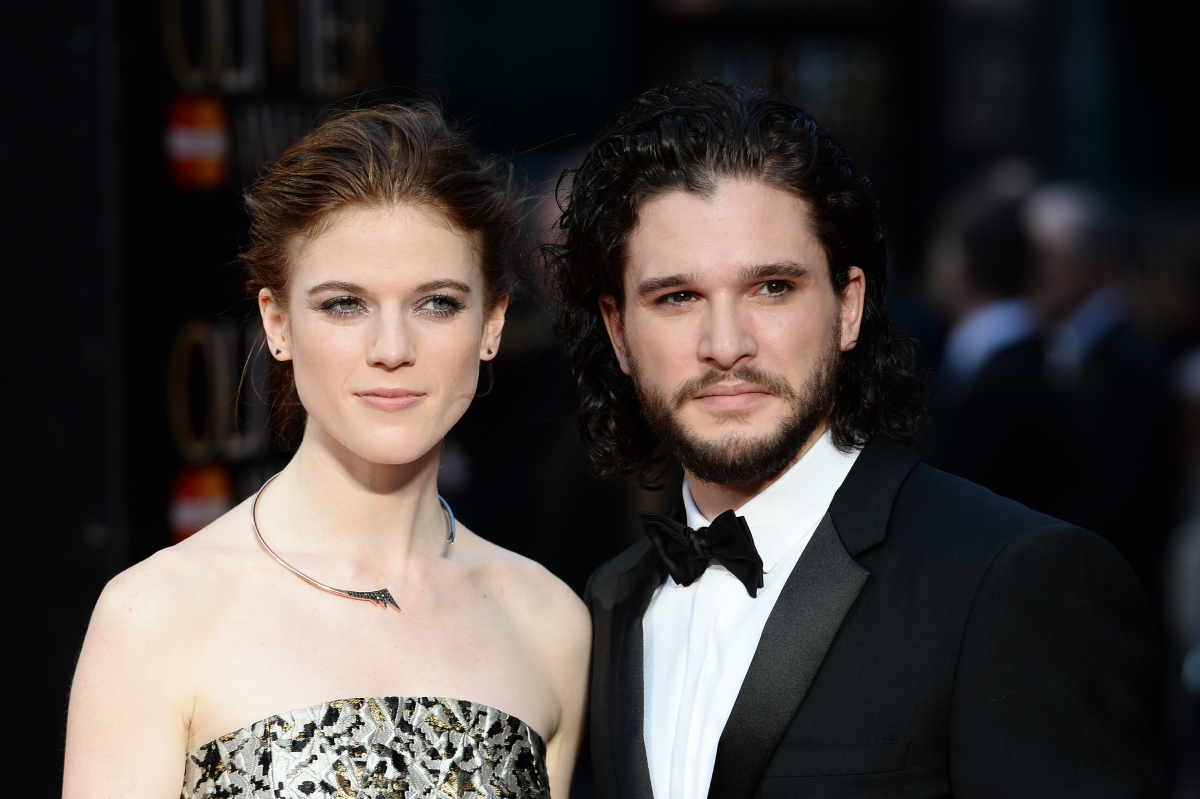Rose Leslie and Kit Harington attend The Olivier Awards with Mastercard at The Royal Opera House on April 3, 2016