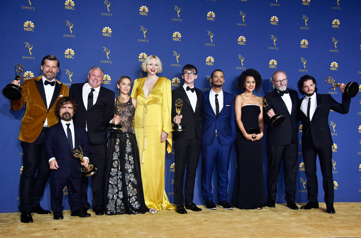 Cast of Outstanding Drama Series winner 'Game of Thrones' poses in the press room during the 70th Emmy Awards at Microsoft Theater on September 17, 2018 in Los Angeles, California