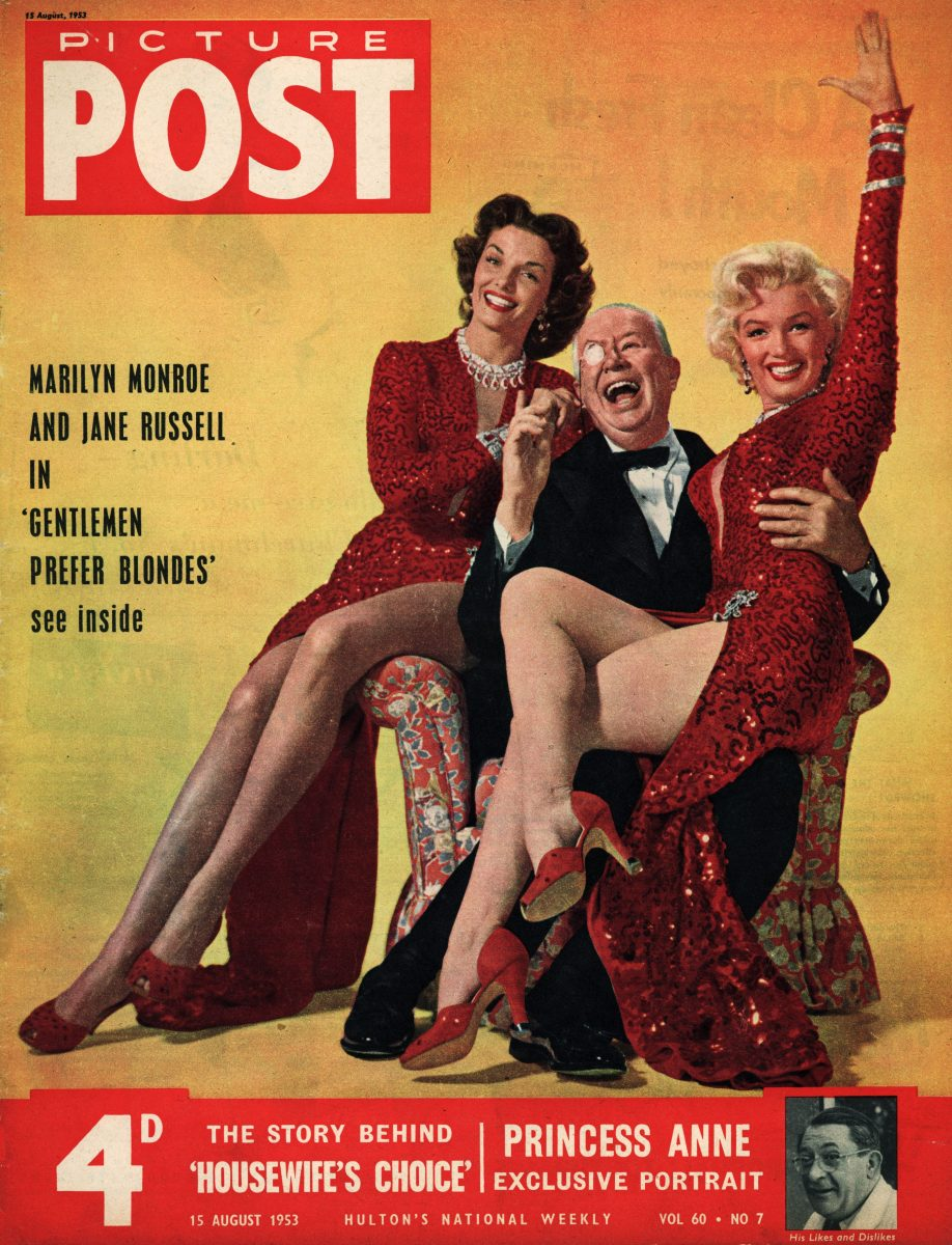 The cover of Picture Post magazine featuring a portrait of American actresses Jane Russell and Marilyn Monroe with Charles Coburn