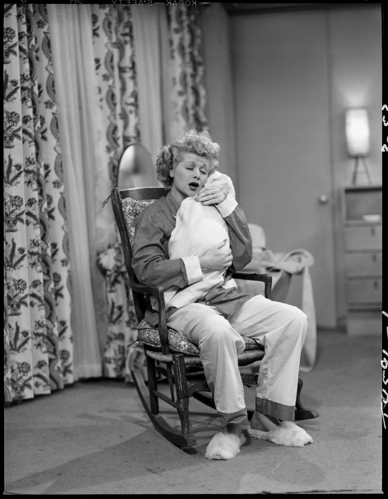 Lucille Ball in a scene from 'I Love Lucy' with baby Little Ricky