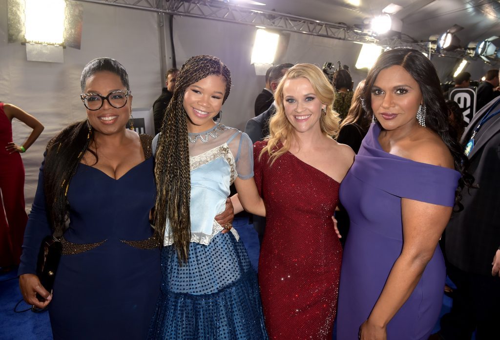 Oprah Winfrey, far left, and Mindy Kaling, far right with Storm Reid and Reese Witherspoon at the 2018 LA premiere of 'A Wrinkle in Time'