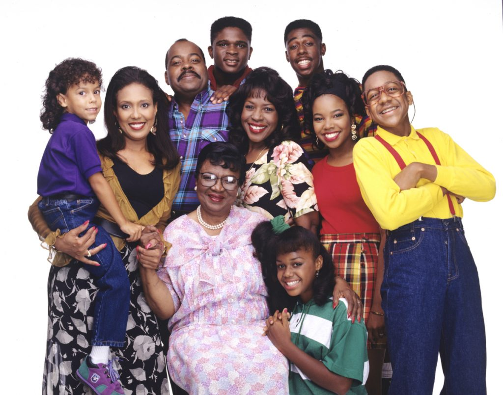 Jaleel White, far right, as Steve Urkel, with the cast of 'Family Matters,' 1991