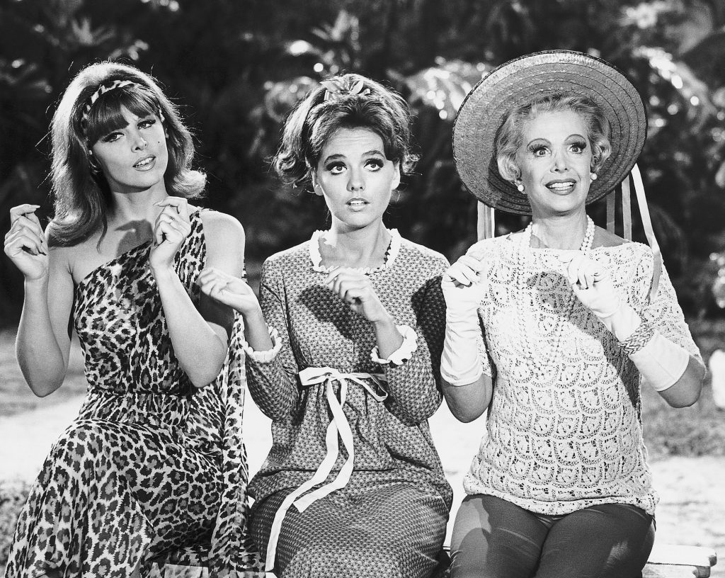 (L-R) Tina Louise, Dawn Wells, and Natalie Schaefer on 'Gilligan's Island' smiling