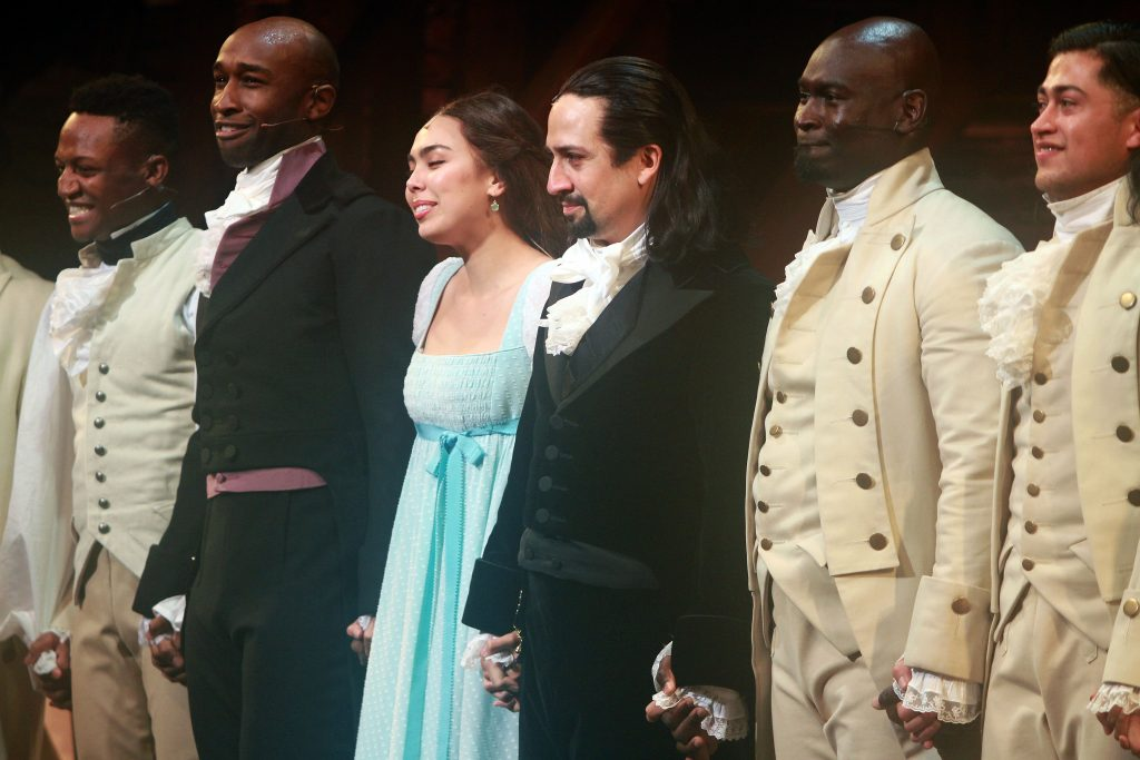 Lin-Manuel Miranda and the cast of 'Hamilton' at the end of their performance
