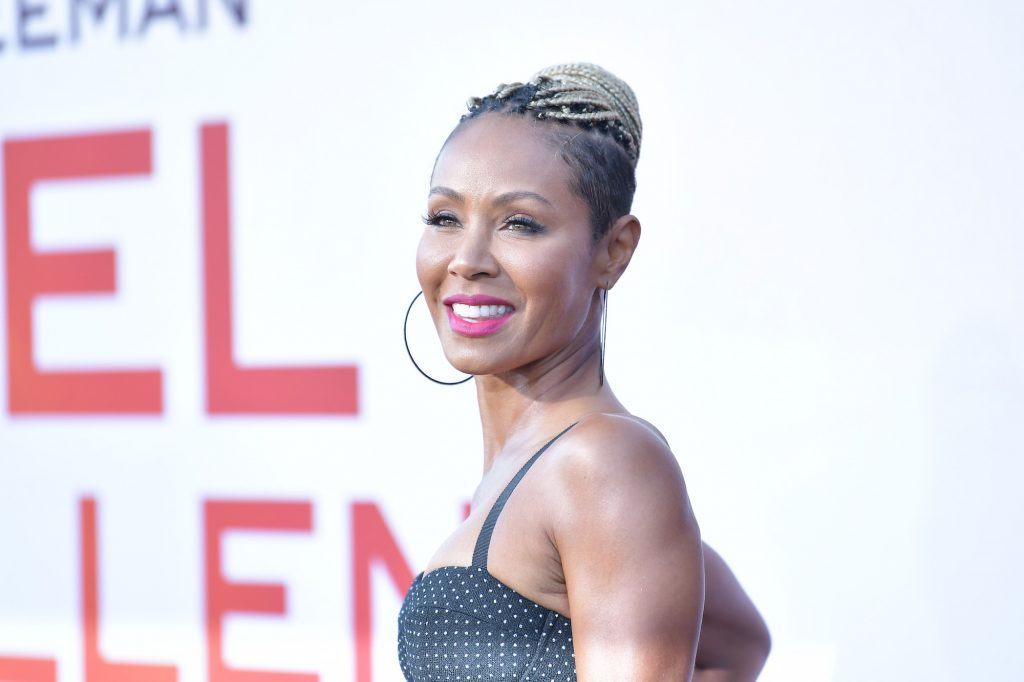 Jada Pinkett Smith smiling, turned to the right