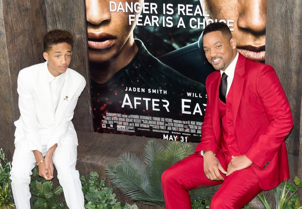 (L-R) Actors Jaden Smith and Will Smith attend the 'After Earth' premiere