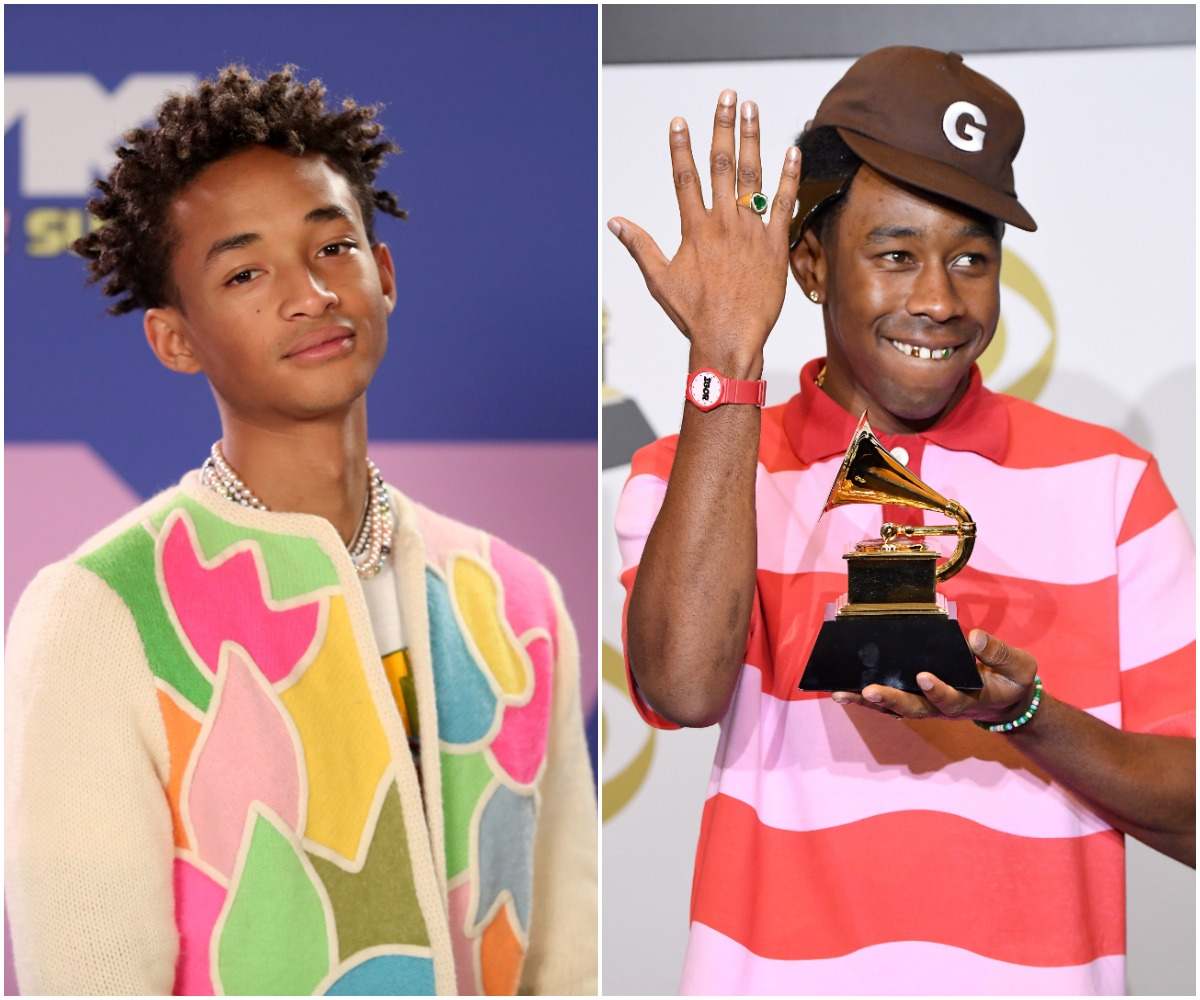 """Jaden Smith attends the 2020 MTV Video Music Awards, broadcast on Sunday, August 30th 2020./Tyler the Creator poses in the press room with the award for Best Rap Album for """"Igor"""" during the 62nd Annual GRAMMY Awards at Staples Center on January 26, 2020 in Los Angeles, California."""