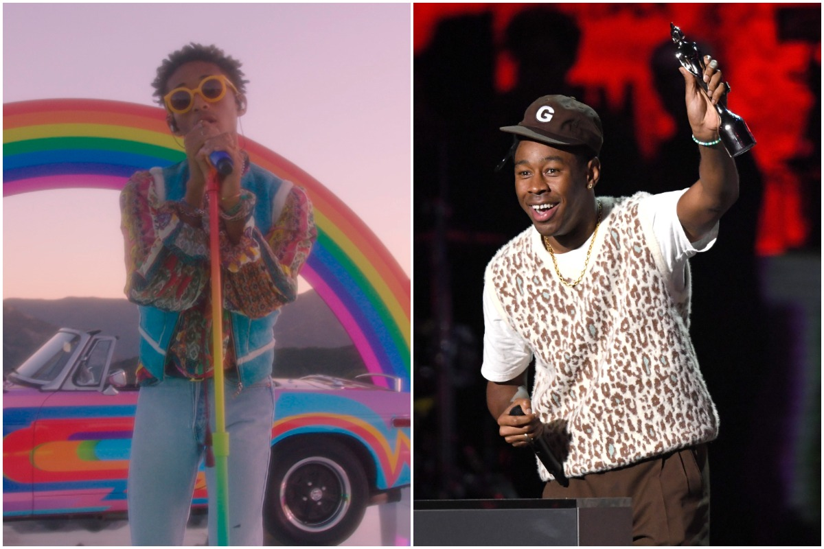 THE TONIGHT SHOW STARRING JIMMY FALLON -- Episode 1303A -- Pictured in this screengrab: Musical guest Jaden performs on August 6, 2020/ Tyler, The Creator accepts the International Male Solo Artist award during The BRIT Awards 2020 at The O2 Arena on February 18, 2020 in London, England.
