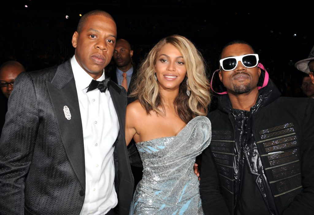 Rapper Jay-Z, singer Beyonce and rapper Kanye West at the 50th Annual GRAMMY Awards at the Staples Center on February 10, 2008 in Los Angeles, California. **EXCLUSIVE**