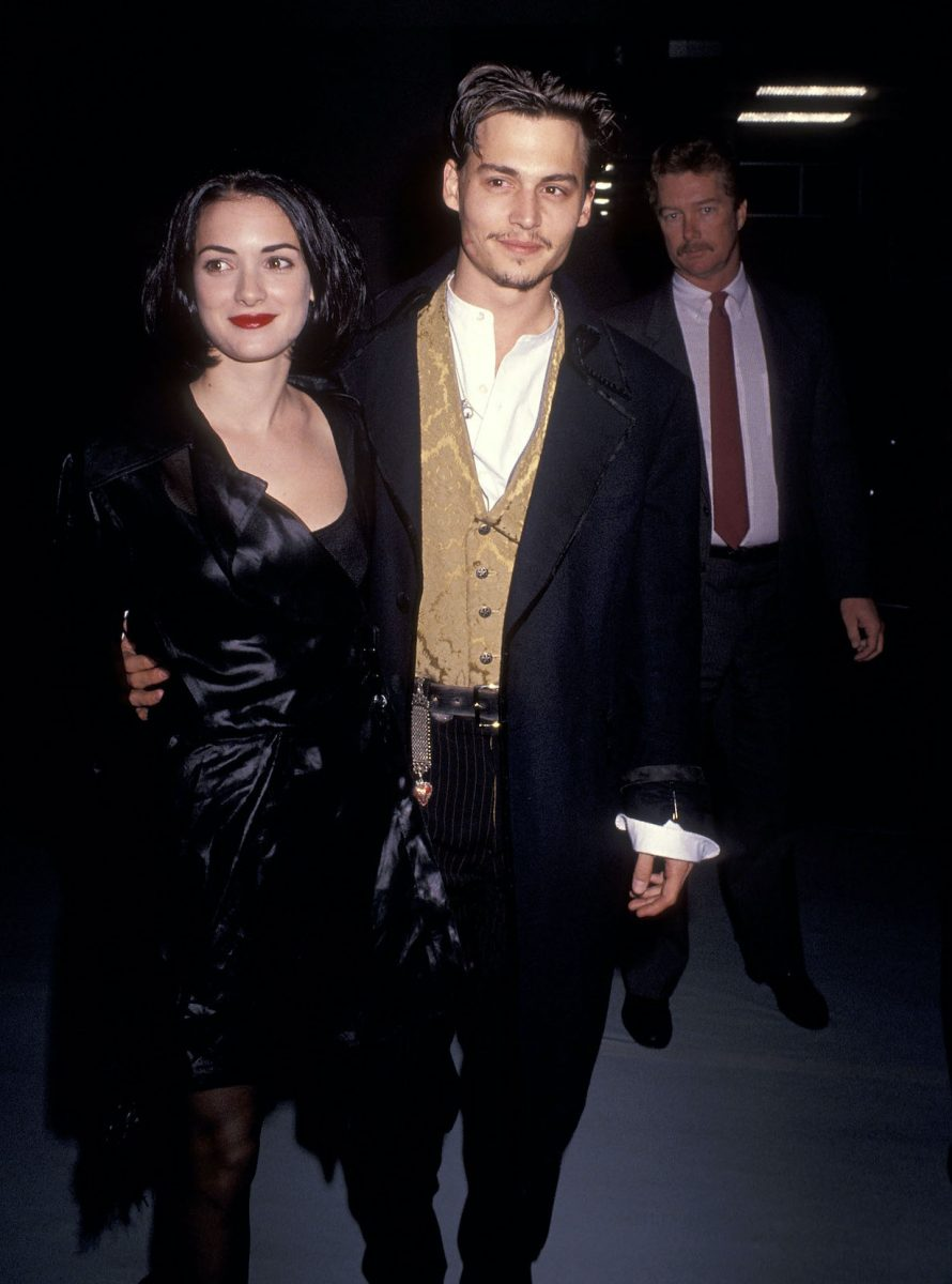 Winona Ryder and Johnny Depp attend the 'Edward Scissorhands' Westwood Premiere in 1990