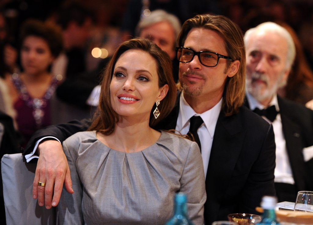 Angelina Jolie and Brad Pitt attend the Cinema for Peace Gala ceremony at the Konzerthaus Am Gendarmenmarkt during day five of the 62nd Berlin International Film Festival