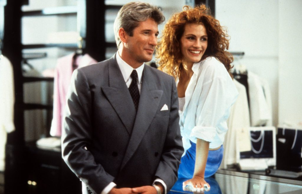 Richard Gere and Julia Roberts in a scene from the film 'Pretty Woman', 1990.