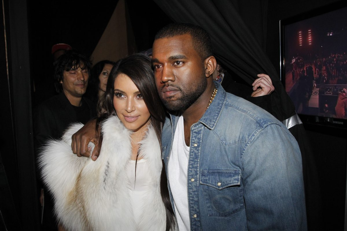 Kim Kardashian and Kanye West attend the Kanye West  Ready-To-Wear Fall/Winter 2012 show